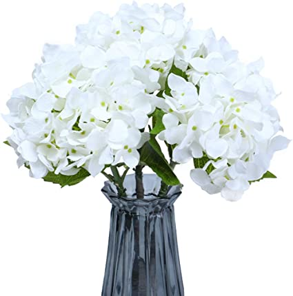 Anna Homey Decor White Hydrangea Flower Bouquets 19 Inch Artificial Fake Flowers Bouquet With Stems For Office Home Hotel Party Wedding Decor Set Of 3 Amazon Co Uk Kitchen Home