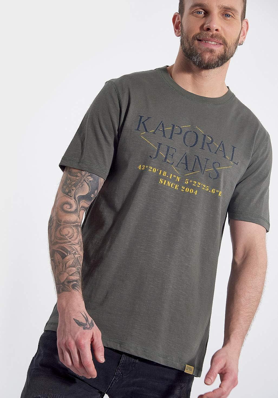 Homme T-Shirt brod/é Jeans en 100/% Coton Tito Coupe Droite Kaporal
