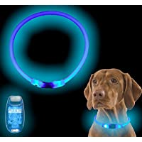 Atlecko Light Up Dog Collar Ultra Bright USB Rechargeable LED & LED Harness Collar Light - Cut to Fit Any Size