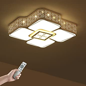96W Dimmbar LED Deckenlampe Deckenleuchte Wohnzimmer Flurlampe mit Fernbedienung