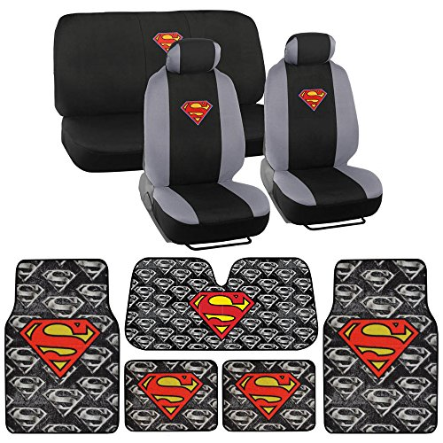 Warner Bros® 14 Pc Full Interior Protection Auto Accessories - DC Superman Super Hero Seat Cover, Floor Mat and SunShade