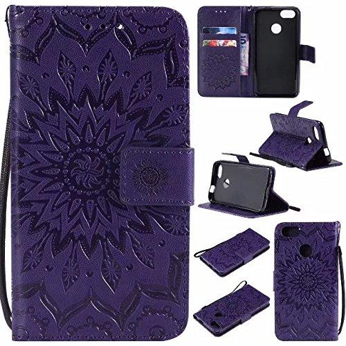 GR Para Huawei P9 Lite Mini / Y6 Pro 2017 / Enjoy 7 Sun Flower Diseño de impresión PU Leather Lanyard Lanyard funda protectora con ranura para tarjeta de soporte ( Color : Rose Gold ) Purple