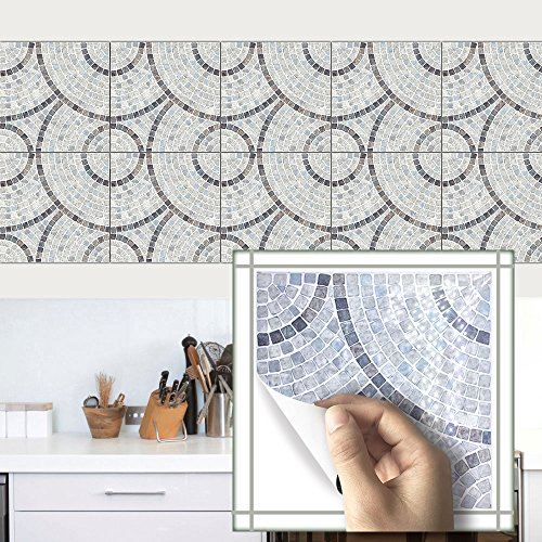 Funlife 7.87inch×7.87inch×10pcs/set Imitation marble PVC Waterproof Self adhesive Wallpaper Kitchen Tile Sticker Wall Decal Home DecorationTS007 - Imitation Marble