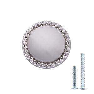"""AmazonBasics Round Braided Cabinet Knob, 1.125"""" Diameter, Satin Nickel, 25-Pack"""