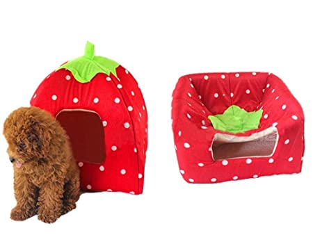 Amazon.com : Century Star Strawberry Style Cute Soft Cotton Sponge Puppy Cat Dog House Pet Bed Dome Tent Warm Cushion Basket Red M : Pet Supplies