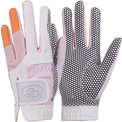 (GH Women's Leather Golf Gloves One Pair - Two Tone Both Hands (Pink, 20 (M)))