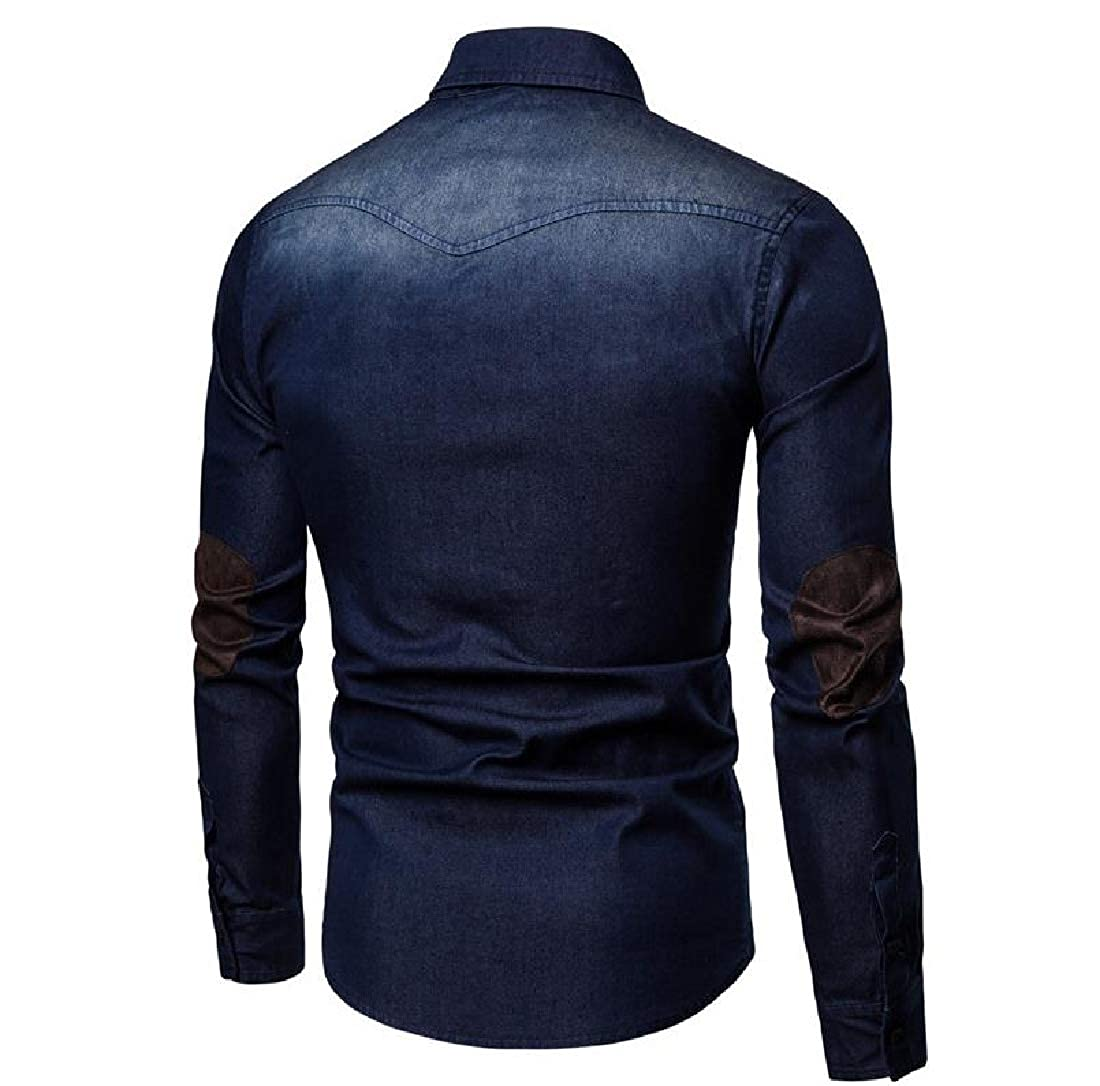 Comaba Mens Faux Suede Long-Sleeve Fall Winter Plus Size Dress Shirt