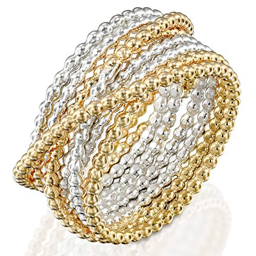 DiDaDo Handmade 2 Tones 925 Sterling Silver and 14K Gold-Filled 'Wrapped up' Overlapping Intertwined Entwined Crisscross Crossover Knotted Statement Beaded Wire Wrap Ring (Silver Tone Beaded Cross)