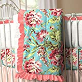 Carousel Designs Coral and Teal Floral Crib Comforter
