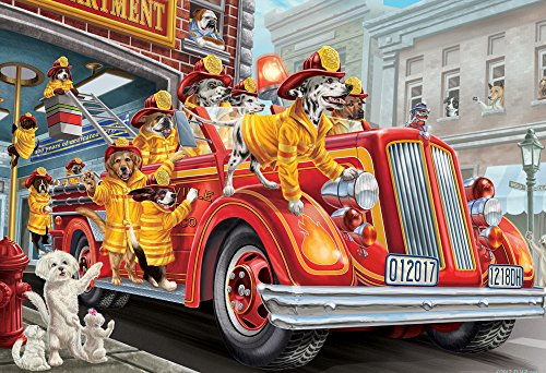 (Vermont Christmas Company Fire Truck Pups Kid's Jigsaw Puzzle 100 Piece)