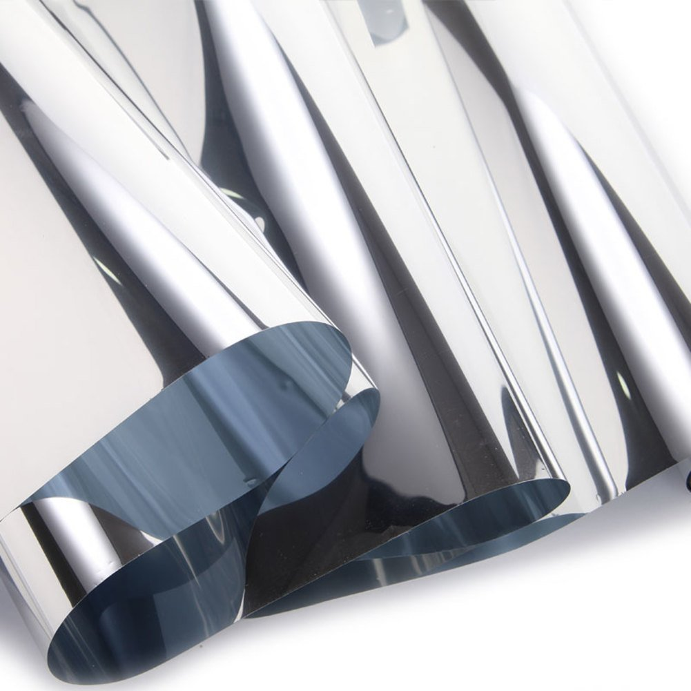 YQ WHJB Mirror Window film,Anti-uv Sun protection film,Pet Self adhesive One way Heat rejection control Explosion-proof Glass Balcony Kitchen Sun control solar films-A 120x100cm(47x39inch)