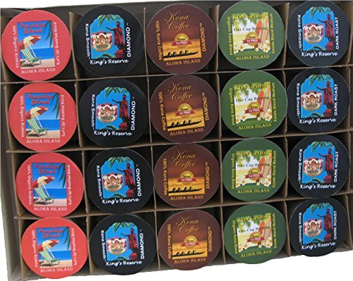 20 Count Kona One-Cup Variety Pack Gift for Keurig K-cup Brewing Systems, Pure Kona and Kona Hawaiian Coffee, Gift Boxed for Valentines, Mothers Day, Fathers Day and all Occasions