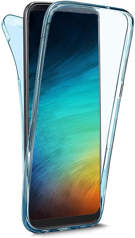 QPOLLY Compatible avec Samsung Galaxy J6 2018 Coque Transparent Silicone Double Face Gel Housse Int/égral 360 Degres Protection Avant et Arri/ère Couverture Ultra Mince Souple Etui TPU Bumper,Bleu