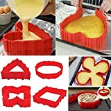 TOP COVER 4PCS Nonstick Silicone Cake Mold Cake Pan Magic Bake Snake DIY Baking Mould Tools - Heart Butterfly Round Square - about 9 inch(22cm), 6 inch(17cm), 4 inch(11cm)