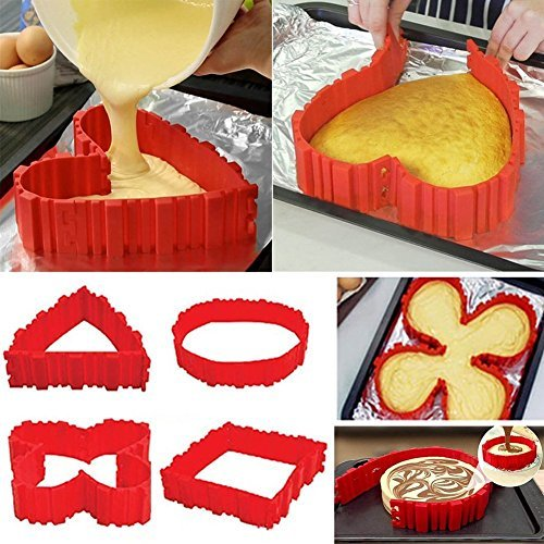 TOP COVER 4PCS Nonstick Silicone Cake Mold Cake Pan Magic Bake Snake DIY Baking Mould Tools - Heart Butterfly Round Square - about 9 inch(22cm), 6 inch(17cm), 4 inch(11cm) by TOP COVER