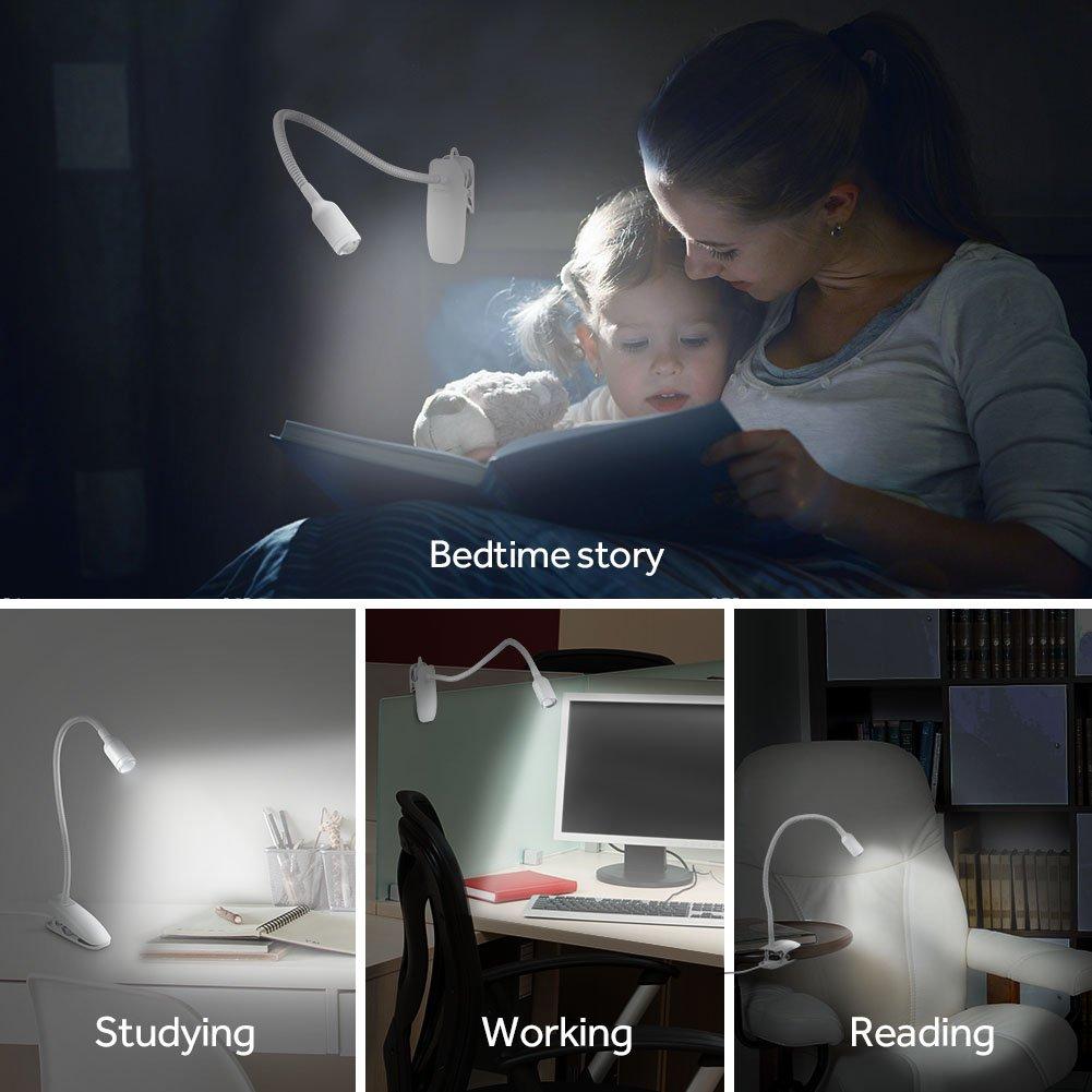 Stepless Dimming White 4335449267 AVANTEK Full Touch Control LED Reading Light Eye-Care Clip on Book Light for Table Desk Bed Headboard 360/° Flexible