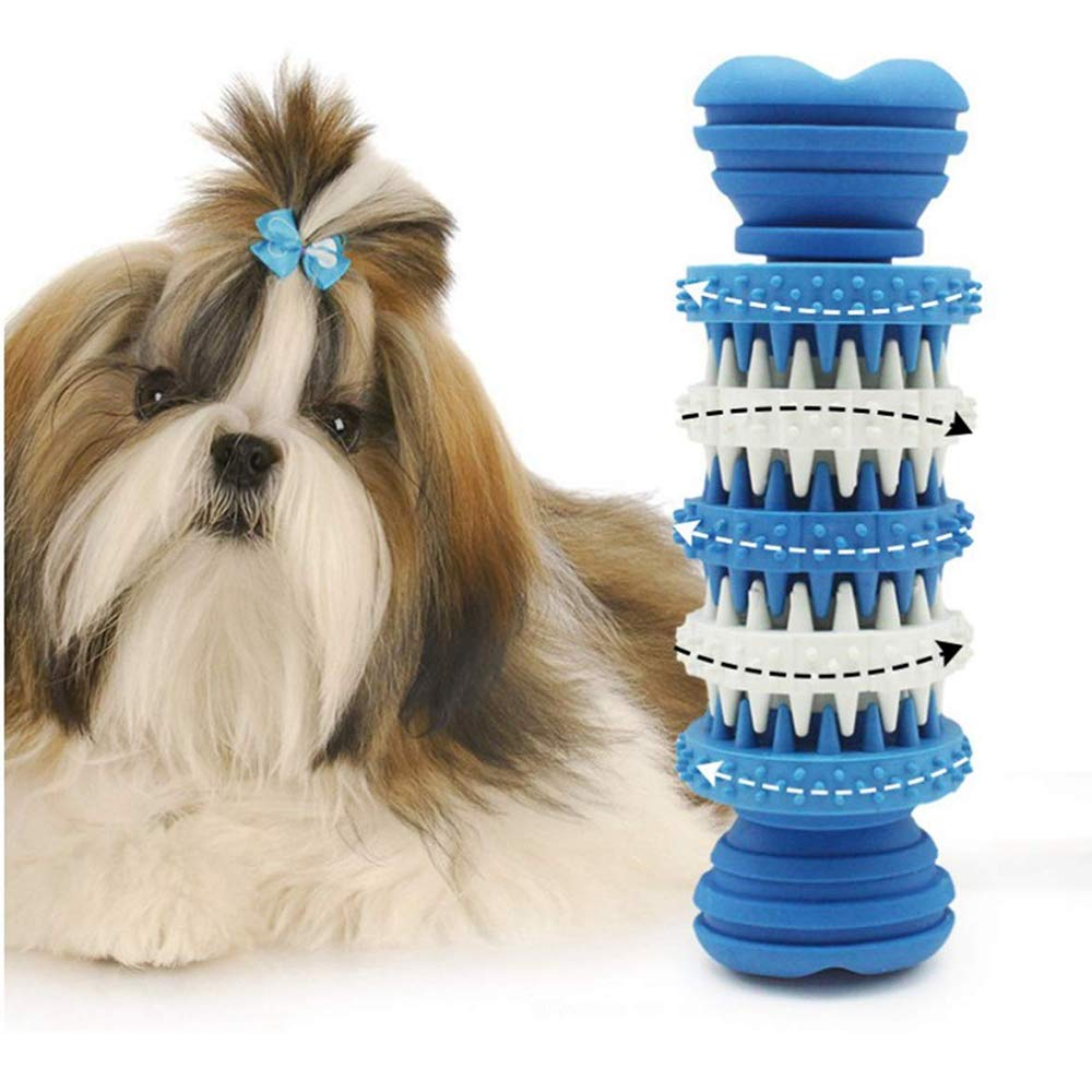 Dog Gear Molar Stick,Puppy Dental Care Brushing Stick Effective Doggy Teeth Cleaning Massager Nontoxic Natural Bones Rubber Bite Resistant Chew Toys for Dogs Pets (bluee)