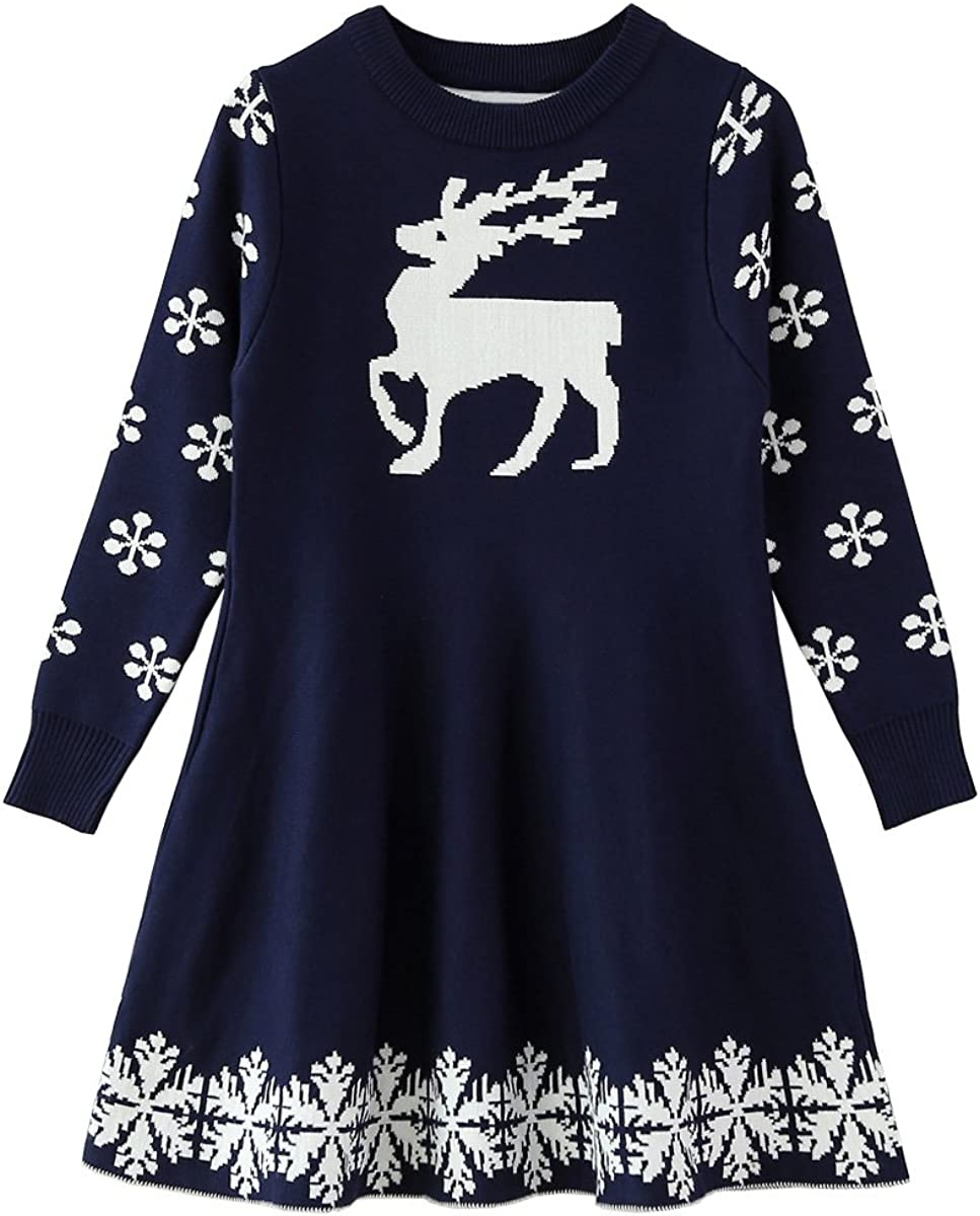 Toddler Kids Xmas Party Princess Dresses Franterd Baby Girls Christmas Off Shoulder Cartoon Animal Deer Print Dress