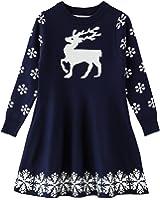 SMILING PINKER Little Girls Christmas Dress Reindeer Snowflake Xmas Gifts Winter Knit Sweater Dresses