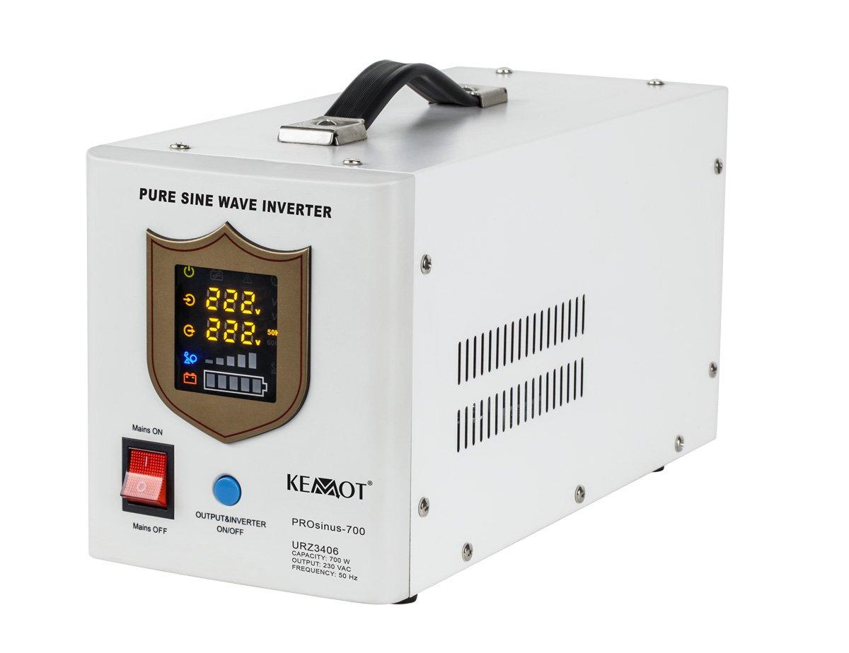 Notstromversorgung KEMOT PROsinus-700 URZ3406B Wechselrichter reiner Sinus Ladefunktion 12V 230V 1000VA/700W, schwarz