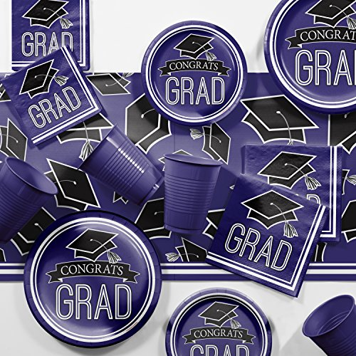(Graduation School Spirit Purple Party Supplies Kit, Serves 18)