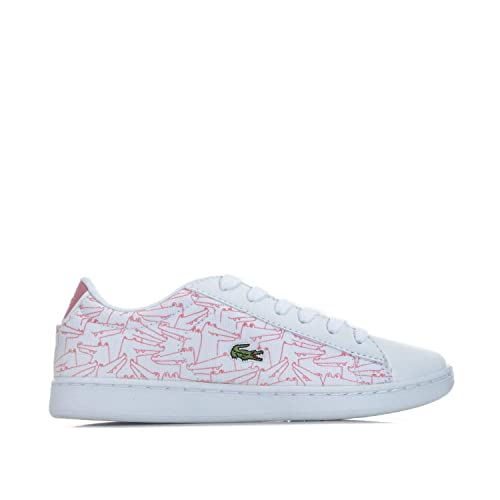 6426adad2faf16 Lacoste Girls Children Girls Carnaby Evo Trainers in White Pink - 10 Child