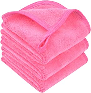 Sinland Microfiber Makeup Remover Facial Cloths Chemical Free Face Cleaning Towel Dark Pink 3 Pack
