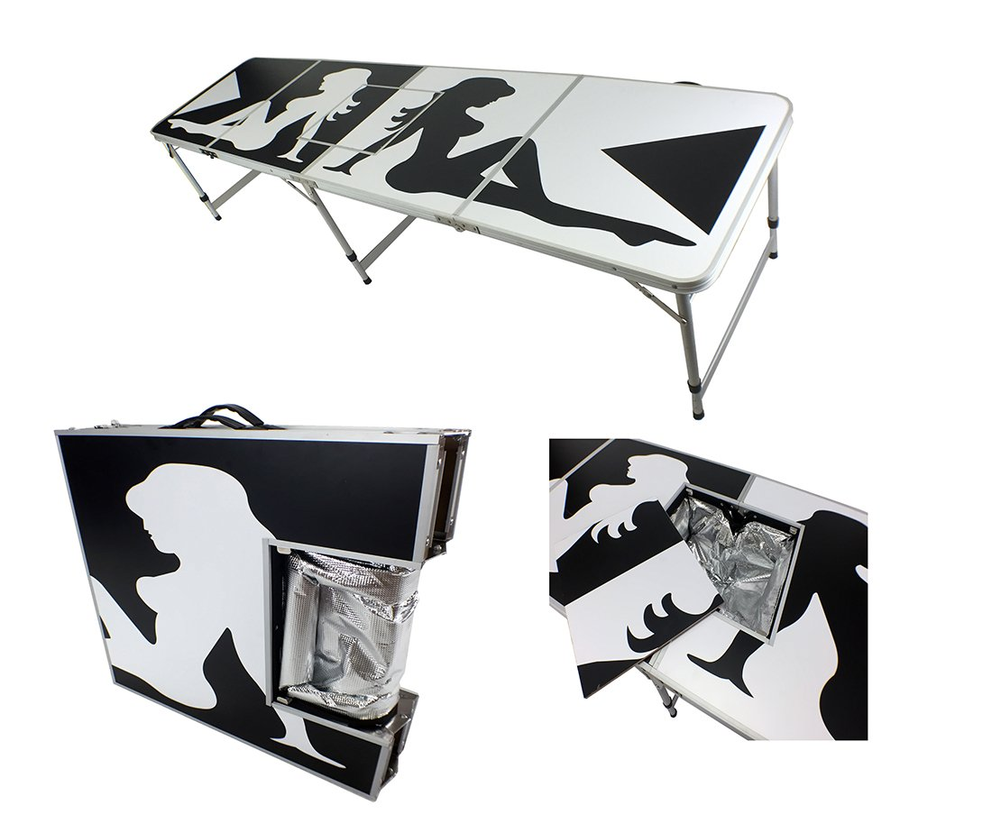 NEW 8' ICE BAG ICY CHEST COOLER BEER PONG TABLE ALUMINUM PORTABLE ADJUSTABLE FOLDING INDOOR OUTDOOR TAILGATE PARTY GAME SHOW GIRL #1 PONGBUDDY