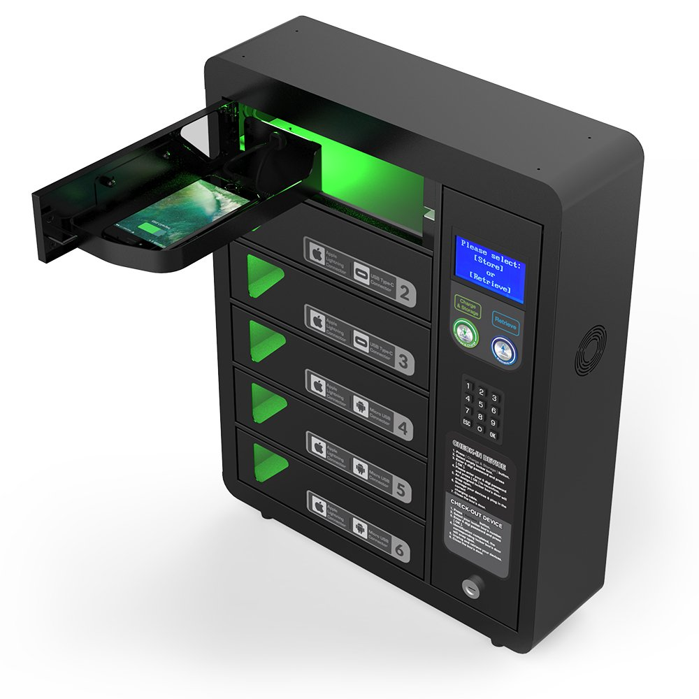 6 Bay Digital Pin Code Cell Phone Charging Locker by ChargeTech w/ 12 High Speed Cables for All Devices: iPhone, Samsung, Android - Includes Voice Assistance (Model: PPL6)