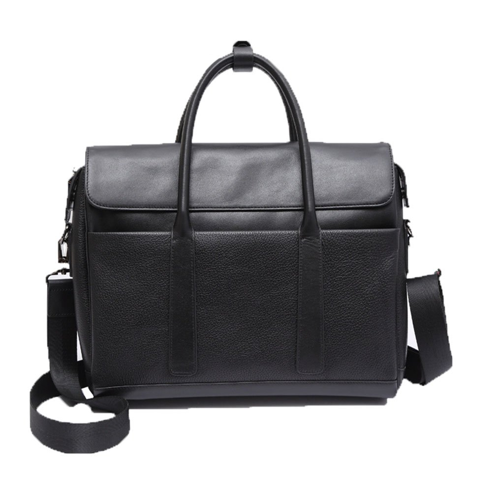 LBYMYB Mens Bag Tote Leather Cross-Section Business Briefcase Crossbody Shoulder Bag Men Black 36.5 29 9.5cm Business Briefcase