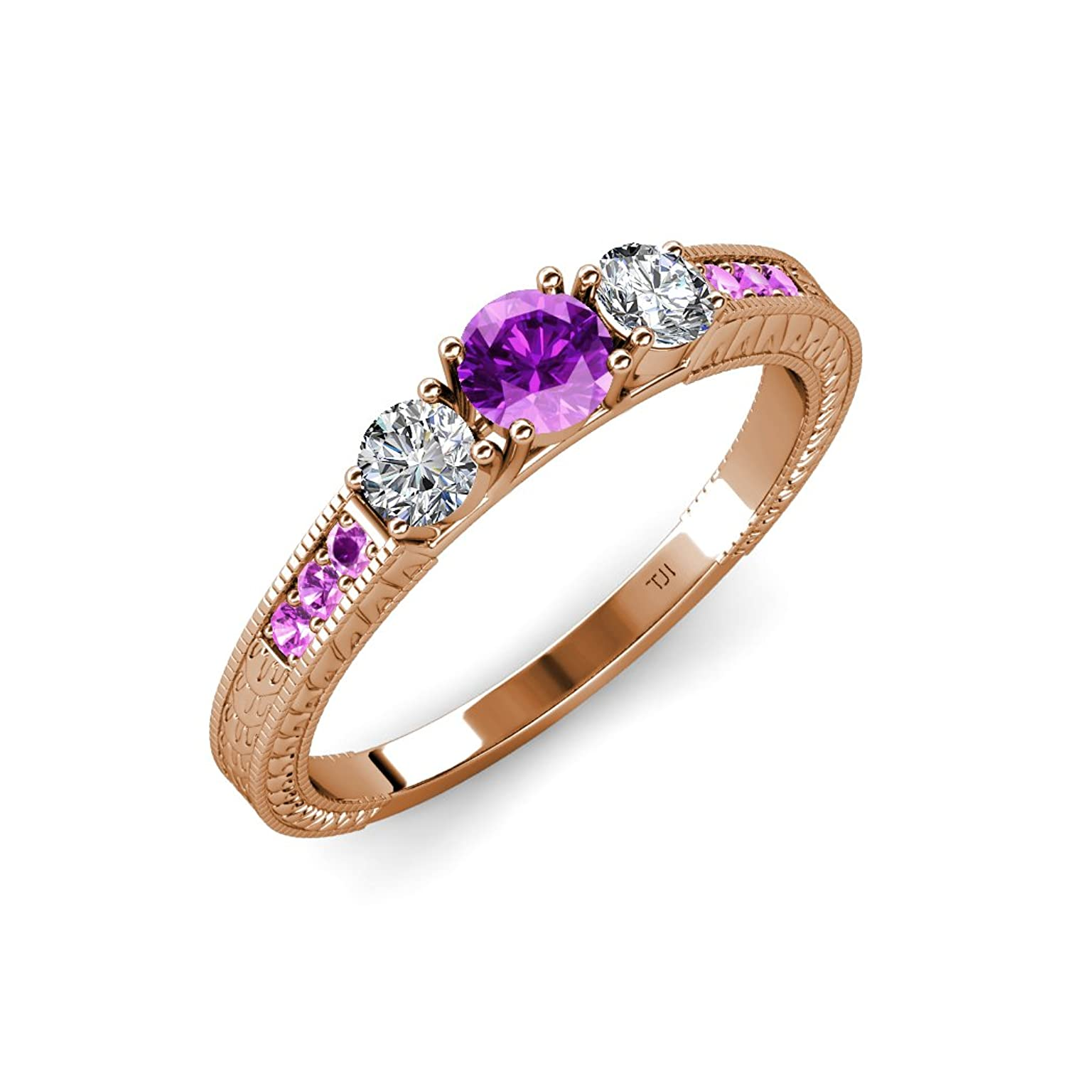 Amethyst and Diamond 3 Stone Ring with Side Amethyst 0.80 ct tw in 14K Rose Gold