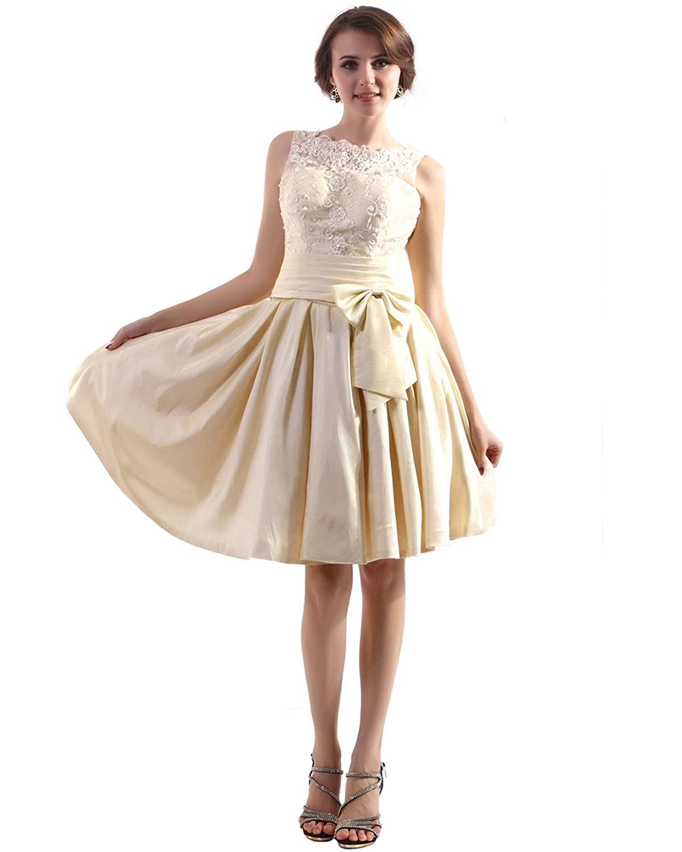 Vampal Champagne Bateau Neck Taffeta Homecoming Dresses With Lace Bodice