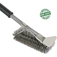Grill Brush and Scraper, 3 in 1 BBQ Cleaner Bristle Free Barbecue Basting Brushes Great Grilling Accessories Gift Effective for Stainless Steel, Ceramic, Iron, Gas and Porcelain Grates