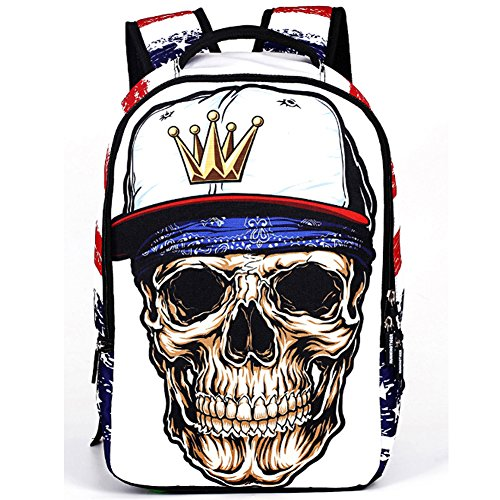 Price comparison product image Cool 3D Skull Studded Daypack Backpack School Bag for School Camping Travel Fits 15 Inch Notebook Laptop (Crown Skull)