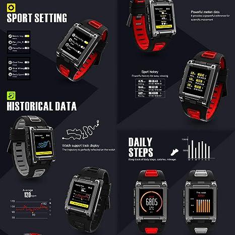 OOLIFENG Reloj con GPS y Pulsometro de Muñeca, Impermeable IP68 ...