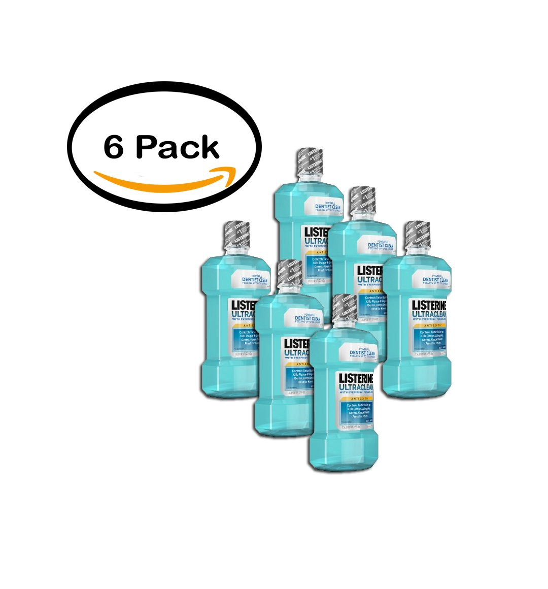 PACK OF 6 - Listerine UltraClean Arctic Mint Antiseptic Mouthwash, 1.5 l