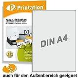 Etiketten 210 x 297 mm WETTERFEST weiß matt auf DIN A4 Bogen - 1 Etikett / Seite - 10 Folienetiketten 210x297 selbstklebend bedruckbar mit Laser Drucker