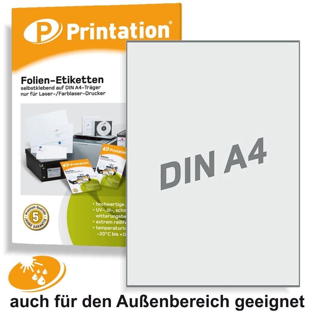 Etichette da 210x 297mm resistente alle intemperie bianco opaco, su A4–1etichetta/pagina–10Schermo etichette 210x 297 Printation