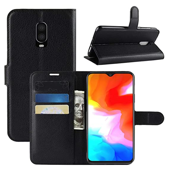 new style 12430 2f6bd OnePlus 6T Case, Fettion Premium PU Leather Wallet Flip Phone Protective  Case Cover with Card Holder for One Plus 6T 2018 Smartphone (Black)