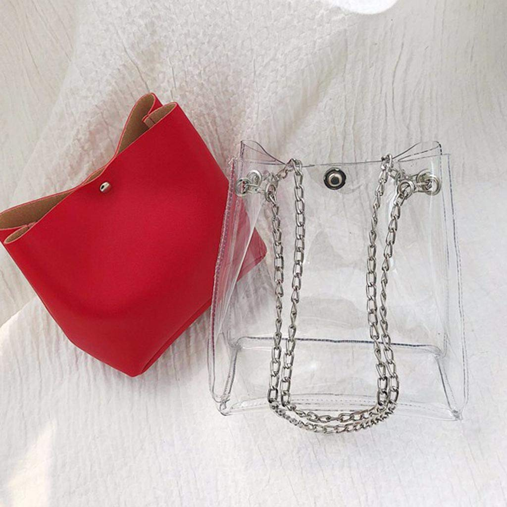 TUSANG Women Small Transparent Bucket Bags Chain Bag Totes Compound Female Mini Handbag Clutch Purse