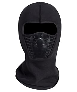 Adult Winter Fleece Grasping Balaclavas Face Cover Windproof Ski Mask Hat Halloween.YR.Lover Black