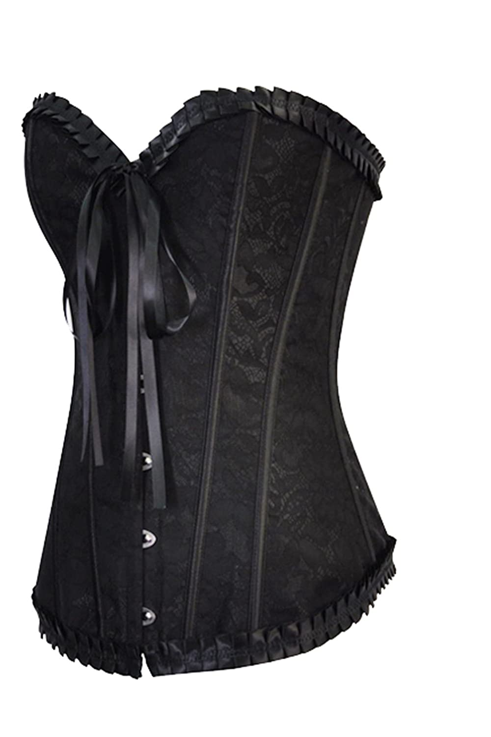 ZAMME Womens Embroidered Lace Overbust Corsets