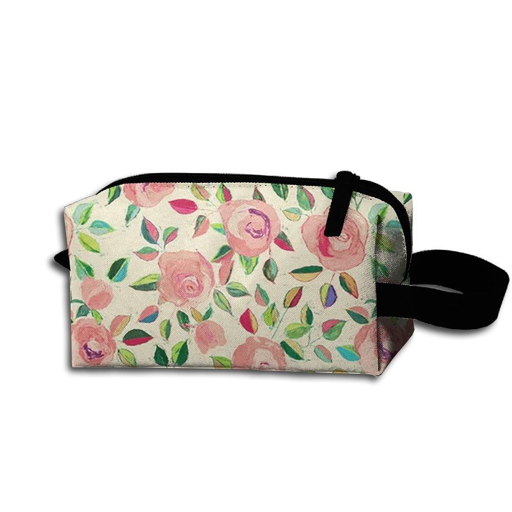 メイクアップコスメティックバッグピンクバラ油彩画Medicine Bag Zip旅行ポータブルストレージポーチforメンズレディース   B07FGFX13Y