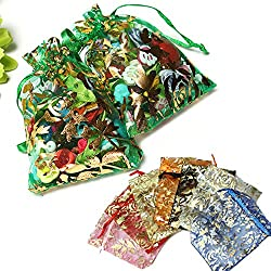 100pcs Drawstring Rose Organza Pouch Gift Bag Jewellery Candy Bags Wedding Party Supplies (Random: Color)
