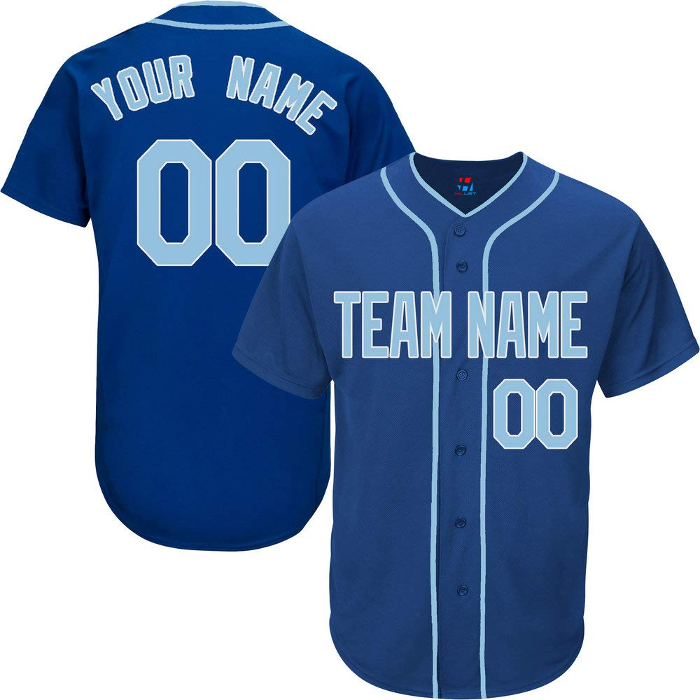 Pullonsy Royal Blue Customized Baseball Jersey for Men Practice Embroidered Your Name & Numbers,Light Blue-White Size S by Pullonsy