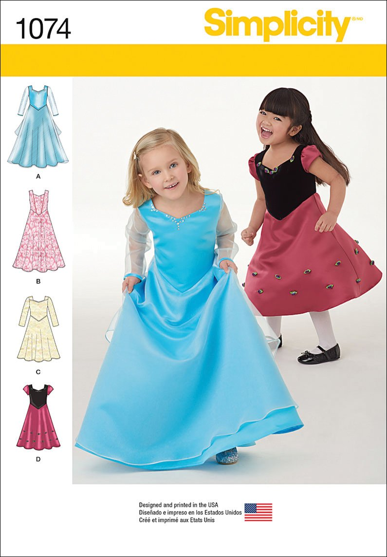 Amazon.com: SIMPLICITY 1074 Toddlers\' & Child\'s Dress in Two Lengths ...
