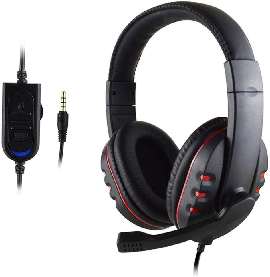 Gotd New Gaming Headset Voice Control Wired HI-FI Sound Quality for PS4 Black+Red