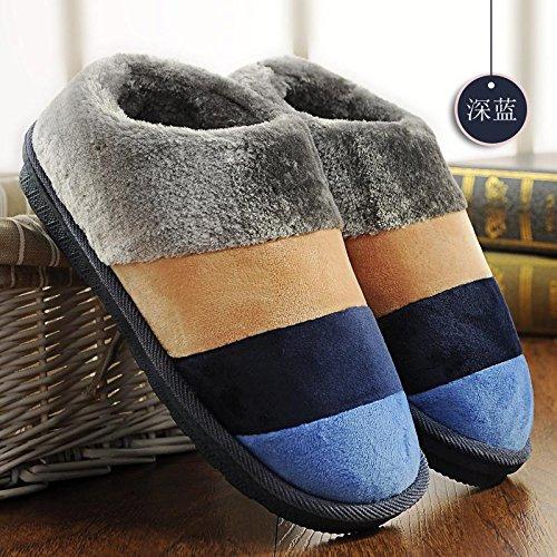 Fankou autunno inverno cotone pantofole pacchetto con coppie di spessore home anti-slittamento casa calda pantofole gli uomini e le donne spesso invernale ,37-38, [blu scuro-