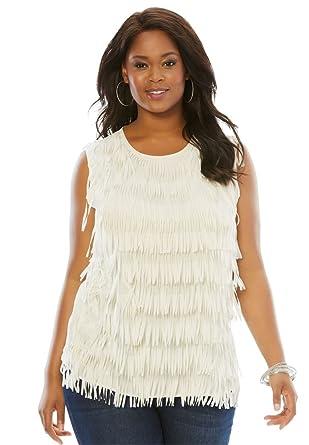 d52992ddbc8fe1 Roamans Women s Plus Size Fringe Top at Amazon Women s Clothing store