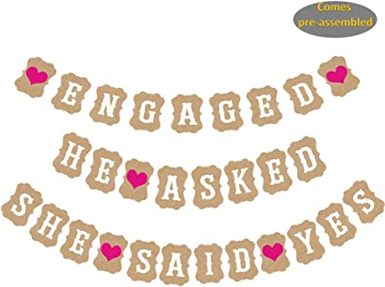 ROSE GOLD Bachelorette Party Decorations He Asked She Said Yes Banner Confetti L